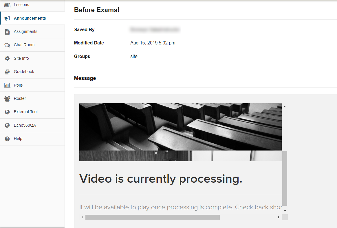 Preview of inserted video that is still processing in content window as described