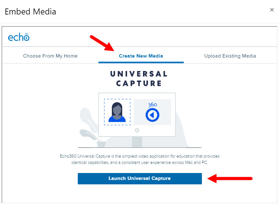 Select media to embed dialog box with Create Media tab identified for steps as described