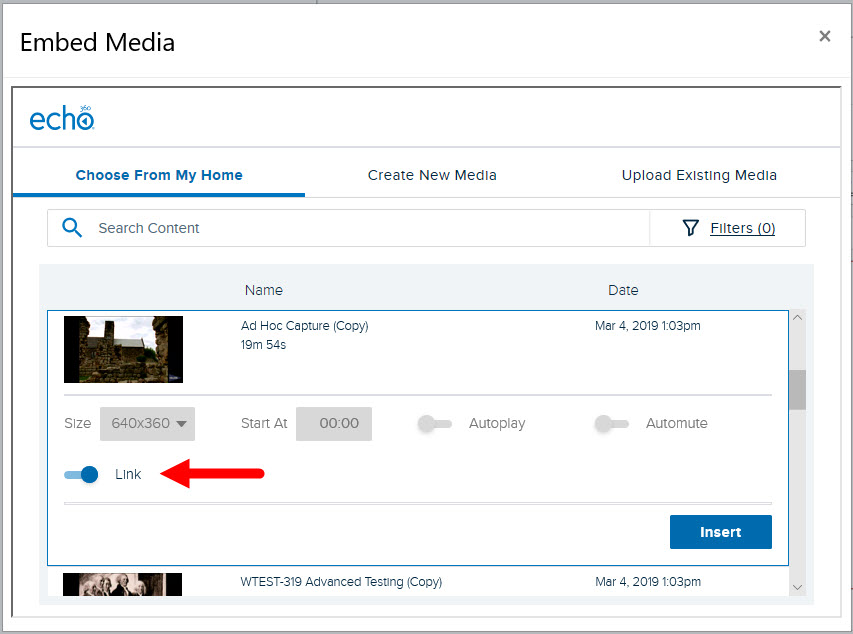 Embed Echo video list with item selected and Link toggle turned on to show option changes as described