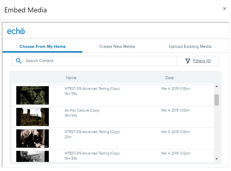 Embed Echo360 video window with My Content library items listed for steps as described
