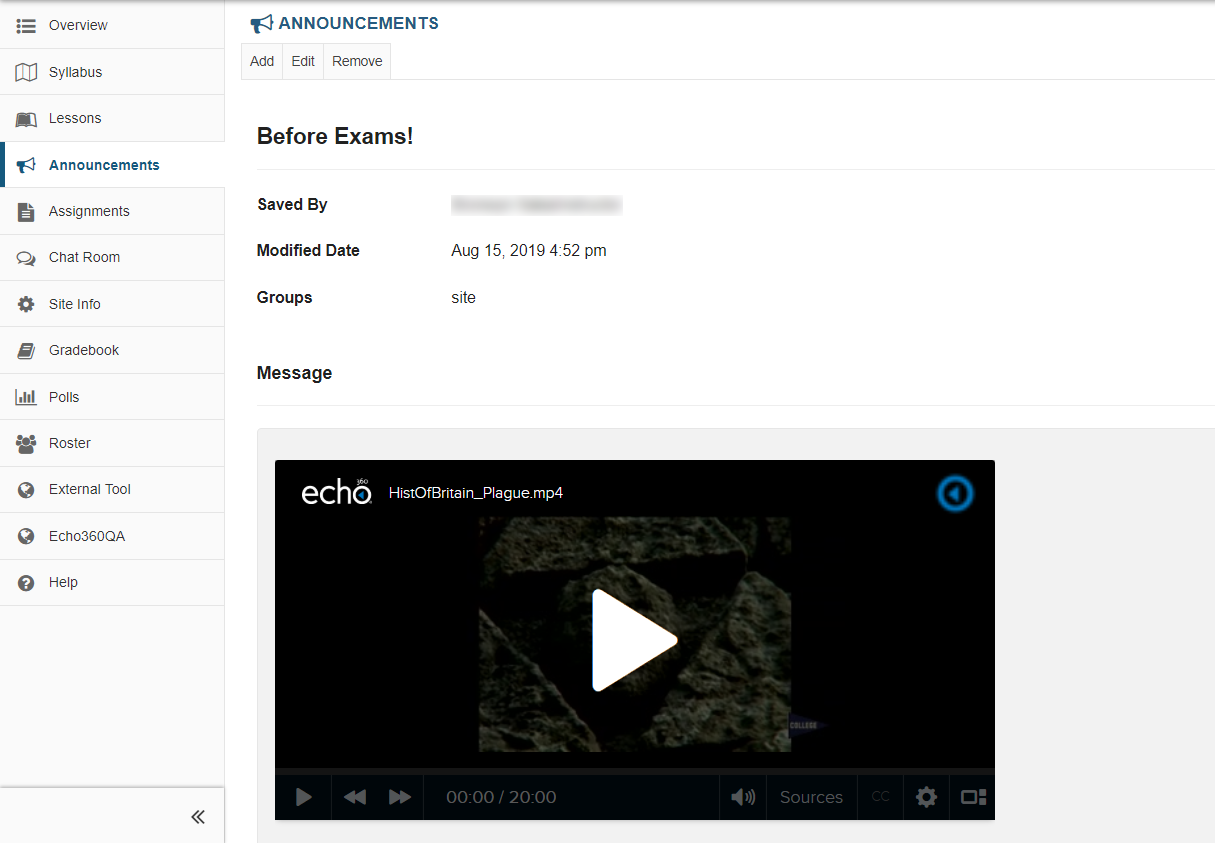 Sakai assignment page in a Site with embedded video as described